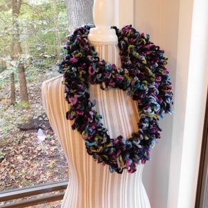 Accessories - Loopy rainbow scarf, soft and warm.